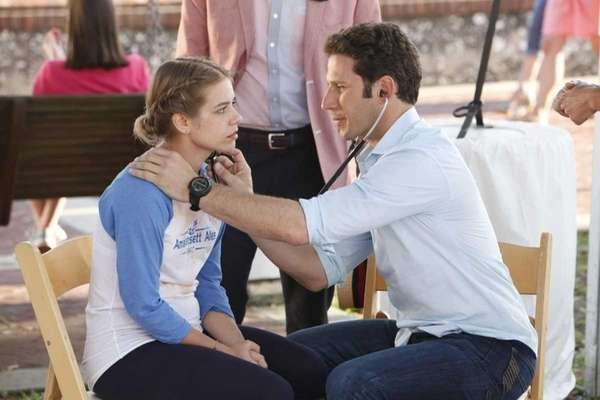 Savannah Wise, left, and Mark Feuerstein as Dr.