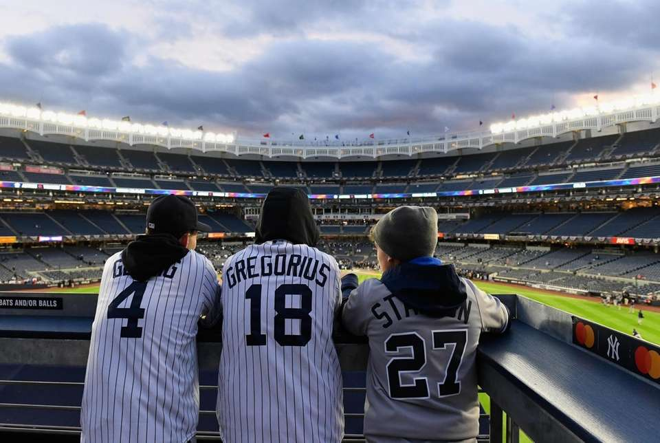 New York Yankees fans watch batting practice from