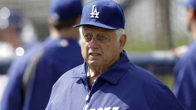 The Los Angeles Dodgers' Tommy Lasorda looks on