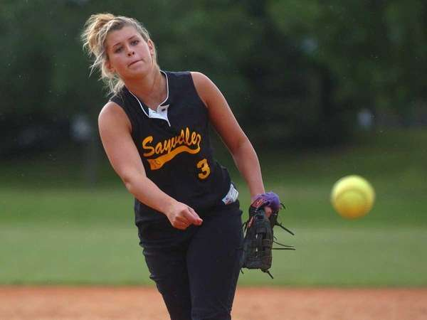 Sayville's Merissa Selts delivers to the plate in