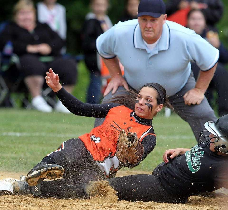 Carle Place's Tori Hytell slides into third base