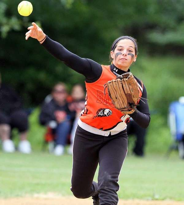 Babylon's Brianna Goodfellow throws to first during the