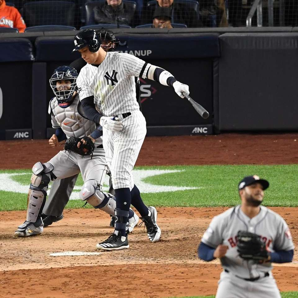 New York Yankees' Aaron Judge strikes out swinging