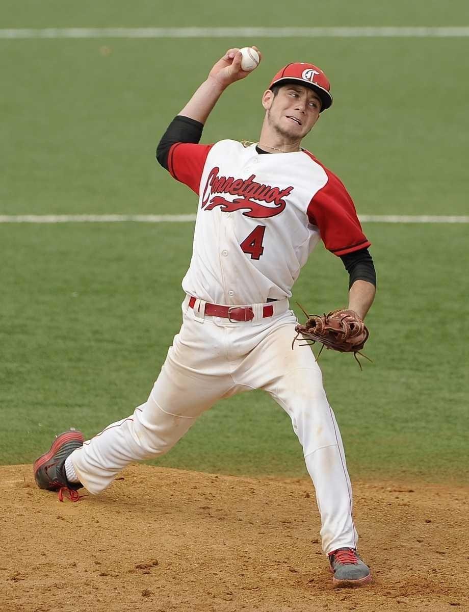 Connetquot pitcher James Higgins delivers against Calhoun in