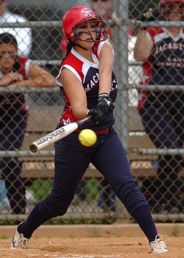 MacArthur left fielder Briana Lombardo hits an RBI