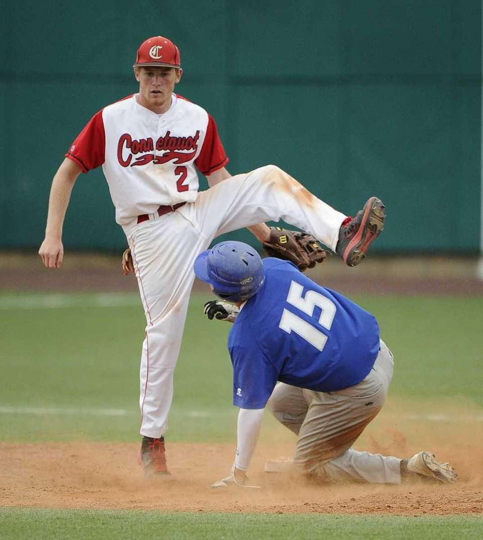 Calhoun's Tommy Joannou steals second base as Connetquot's