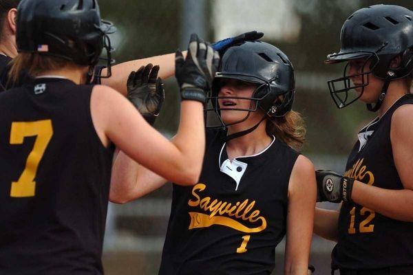 Sayville High School center fielder Jessica Griffin scores