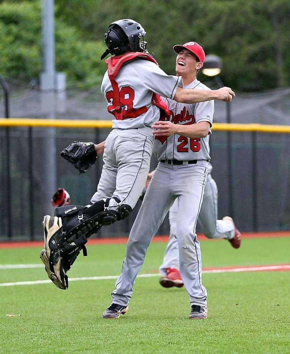 Plainedge catcher Cody Golub and pitcher Tyler Manez