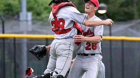 Plainedge catcher Cody Golub and pitcher Tyler Manez