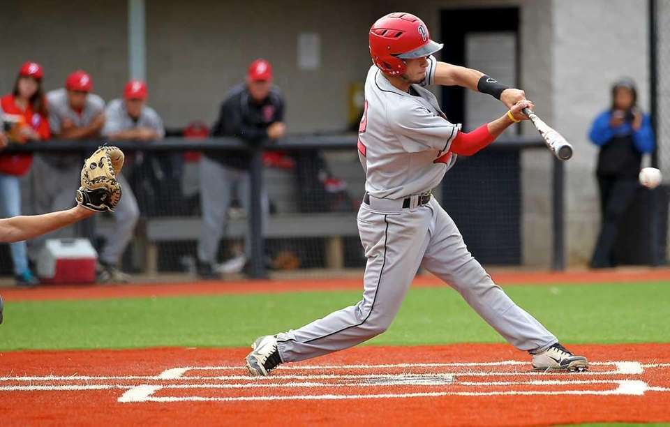 Plainedge's Mike Caccavale gets a hit in the