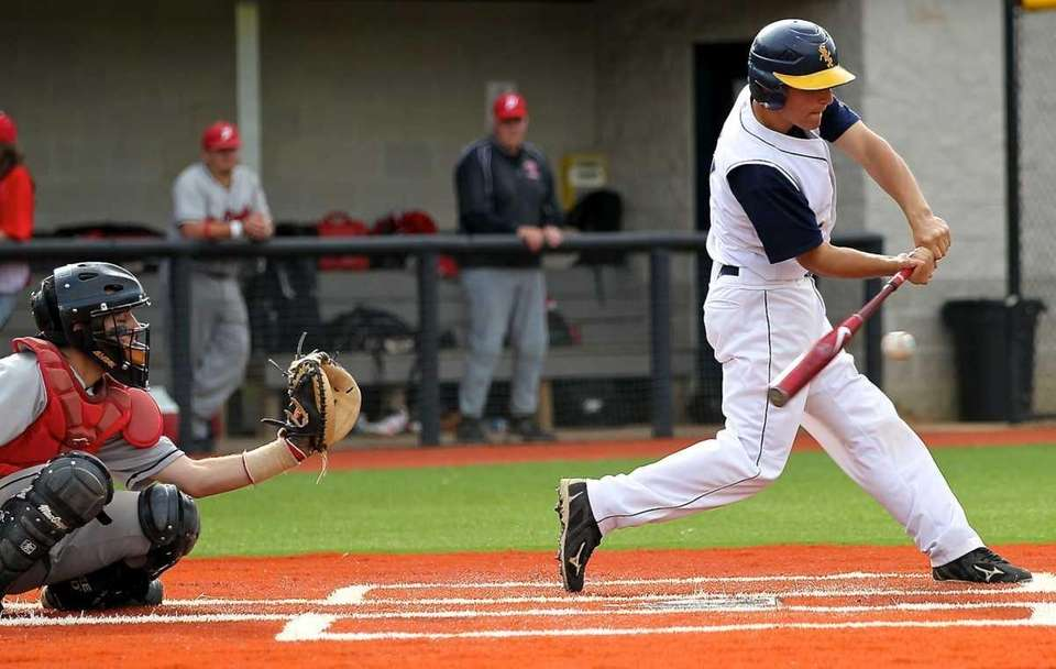Shoreham-Wading River's Mike DiSanti hits a double during