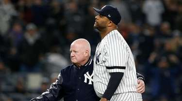 CC Sabathia #52 of the Yankees leaves Game