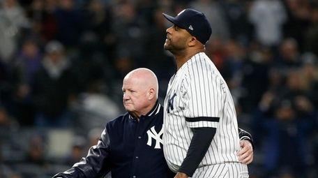 CC Sabathia #52 of the Yankees leaves Game