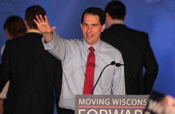 Wisconsin Gov. Scott Walker greets supporters at an