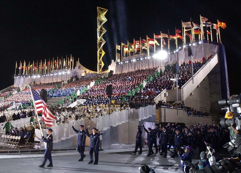 The U.S. Olympic team marches into Rice-Eccles Olympic