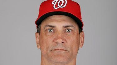 Washington Nationals first base coach Tim Bogar at