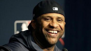 Yankees starting pitcher CC Sabathia speaks to the