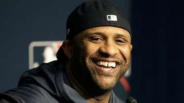 Yankees starting pitcher CC Sabathia speaks to the