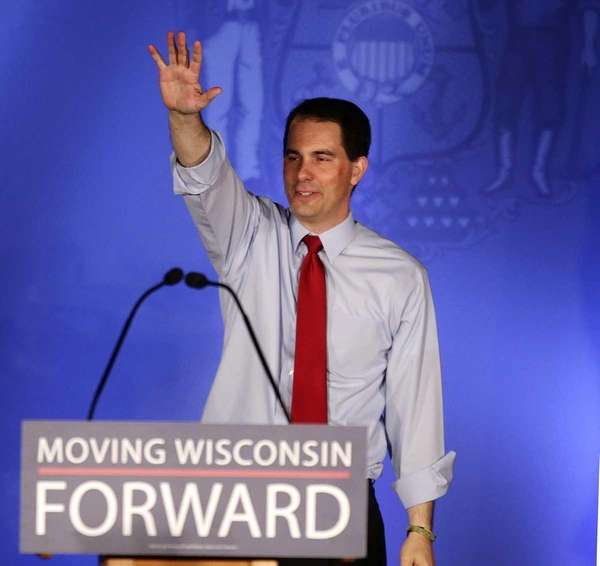 Wisconsin Gov. Scott Walker waves at his victory