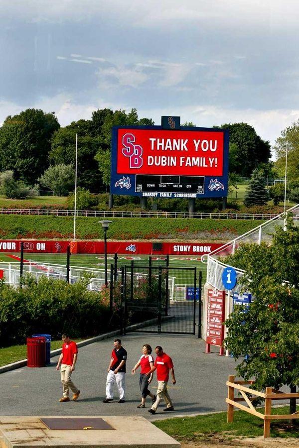 The Stony Brook Kenneth P. Lavalle Stadium scoreboard