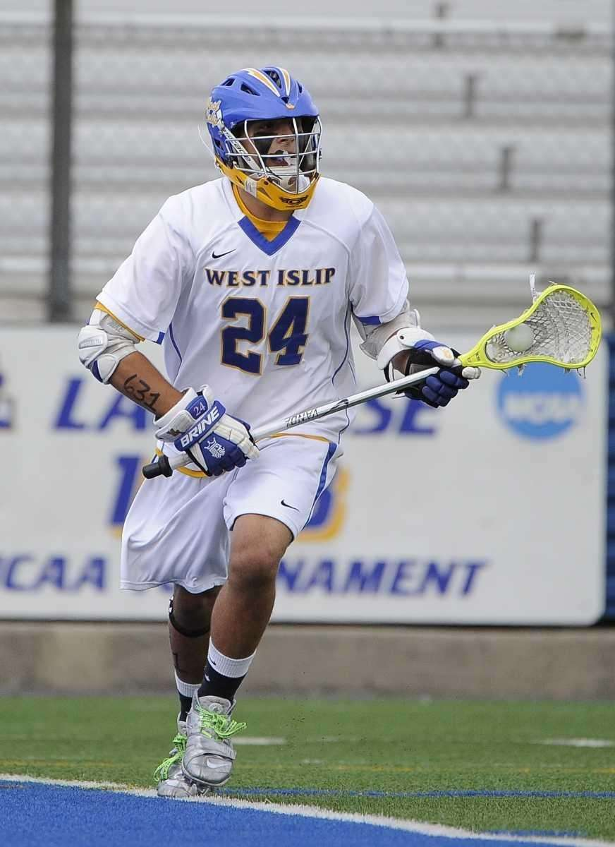 West Islip's Anthony DeLuca controls the ball behind
