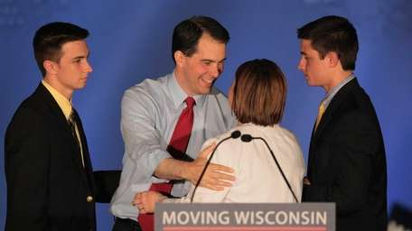 Victorious Wisconsin Gov. Scott Walker with his family