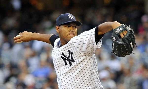Ivan Nova pitching early in the game. (June