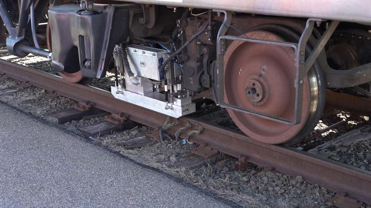 The railroad'snew train, equipped with a high-powered laser,