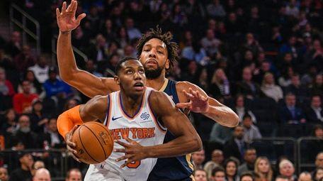 New Orleans Pelicans center Jahlil Okafor (8) defends