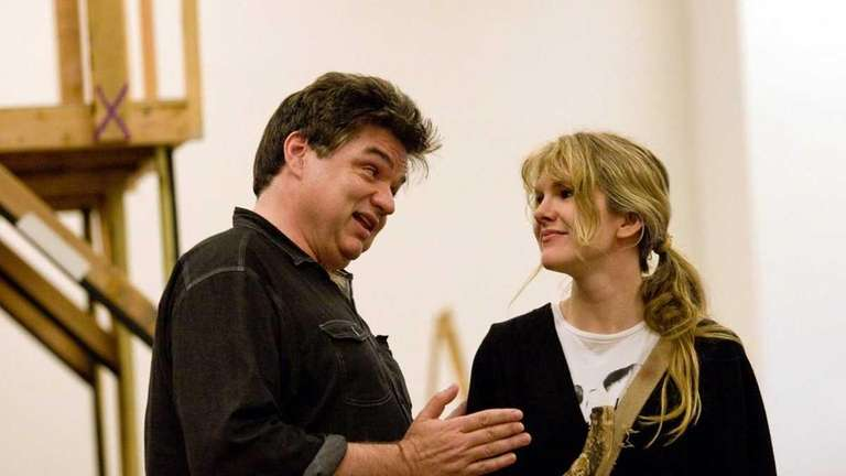 Oliver Platt and Lily Rabe rehearse for the