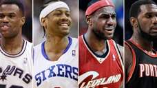 Pictured (left-to-right): David Robinson, Allen Iverson, LeBron James,
