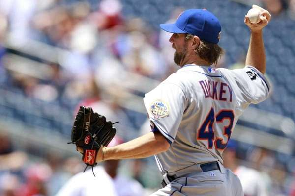 New York Mets starter R.A. Dickey pitches against