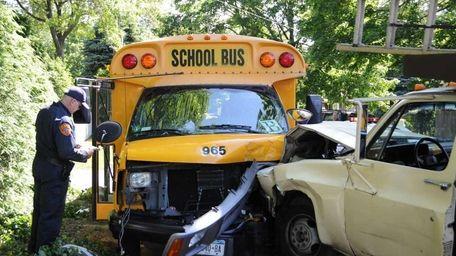 Scene where a mini-school bus was struck by