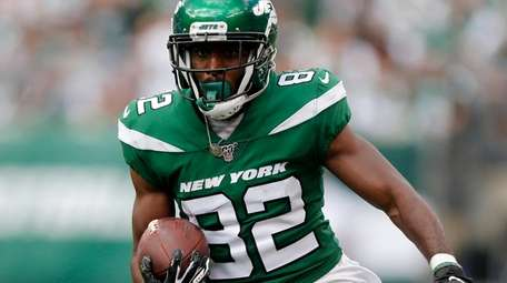 Jamison Crowder #82 of the Jets runs the