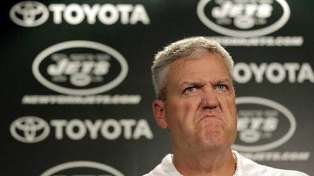 Jets head coach Rex Ryan reacts as he