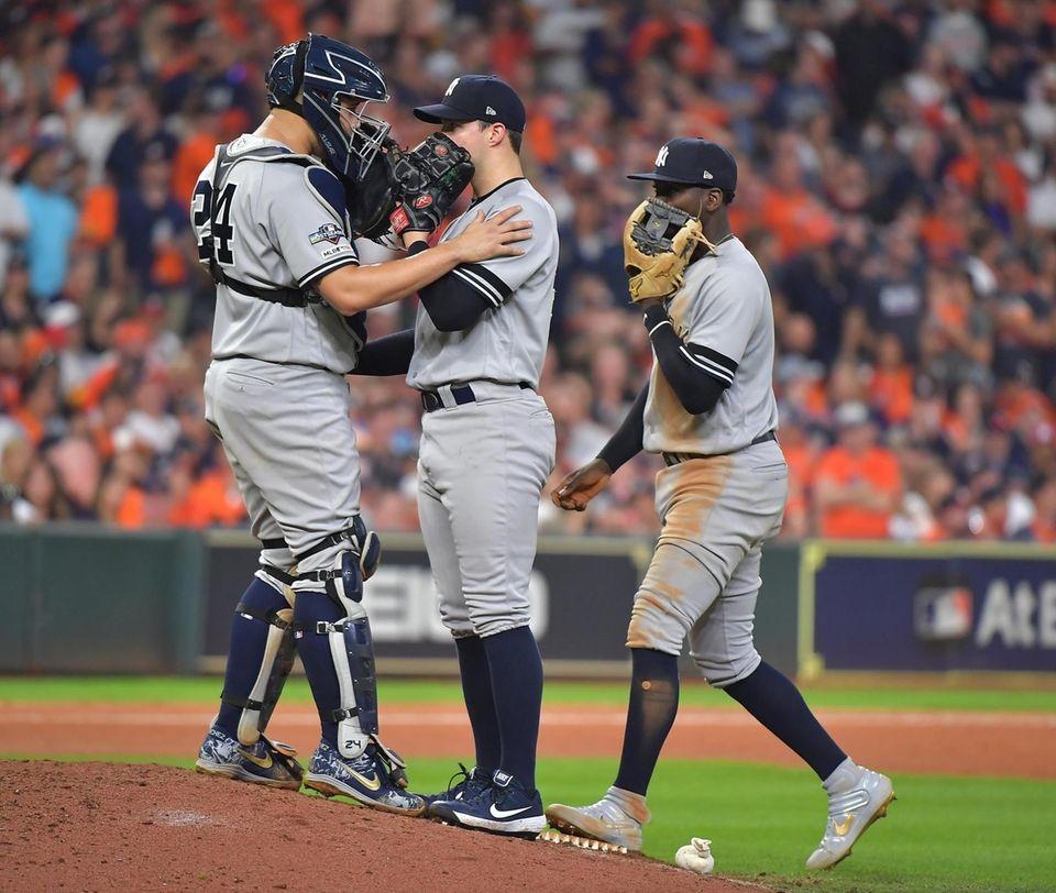 New York Yankees catcher Gary Sanchez (24) talks