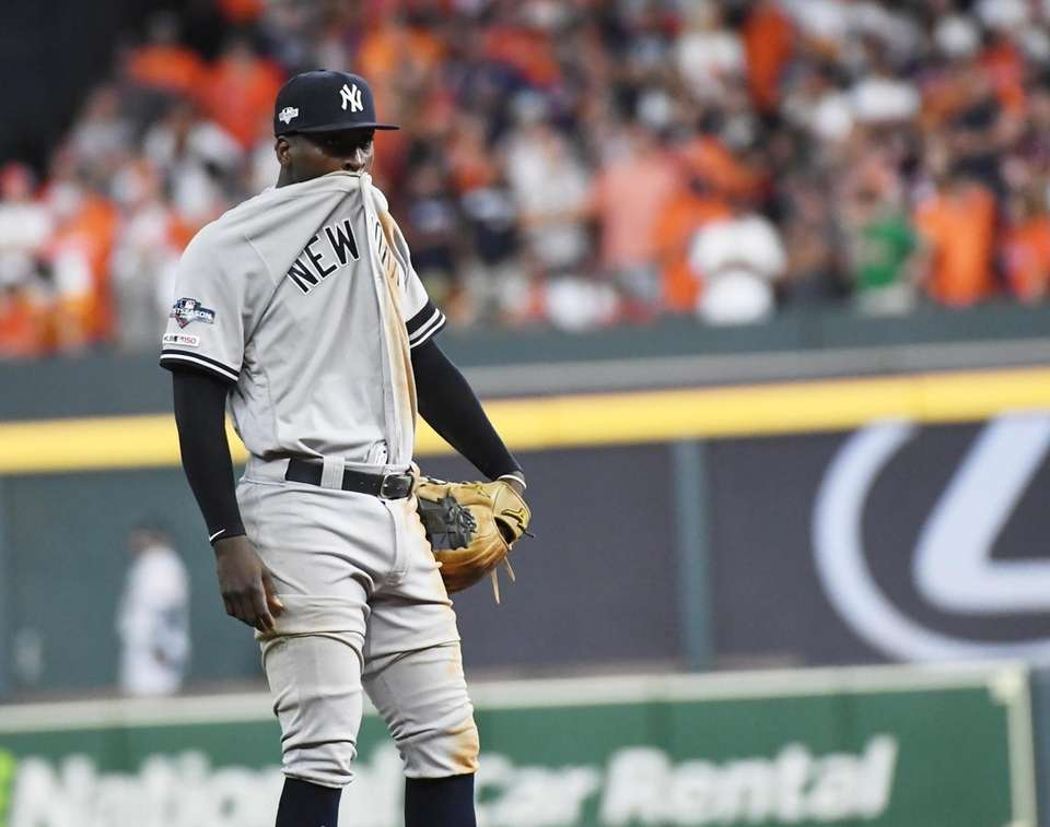 New York Yankees shortstop Didi Gregorius (18) reacts