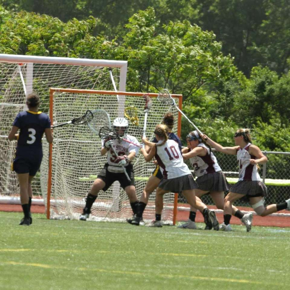 Bay Shore's goalie Dylan Teitelbaum saves a shot