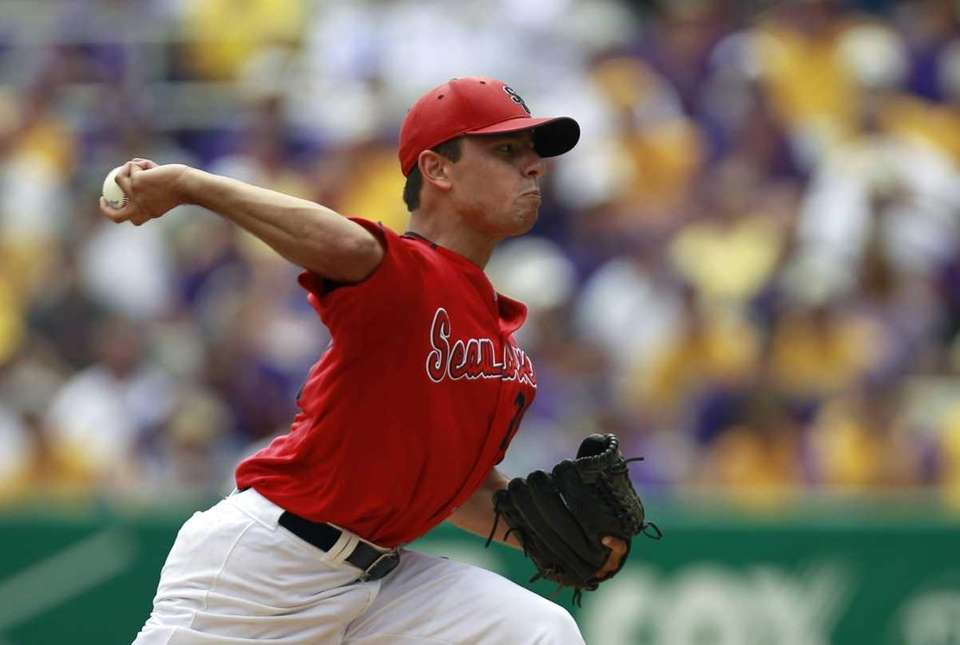 Stony Brook pitcher Brandon McNitt pitches against LSU