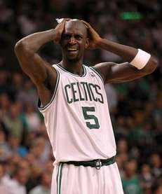 Kevin Garnett of the Boston Celtics reacts in
