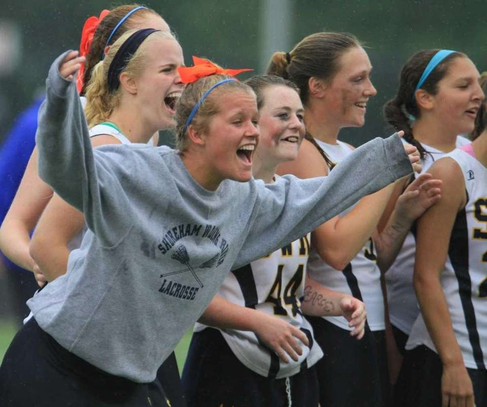 Shoreham Wading River's girls lacrosse team celebrates their