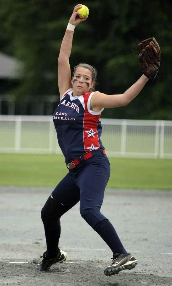 MacArthur pitcher Ashley Massoni throws against Clarence during