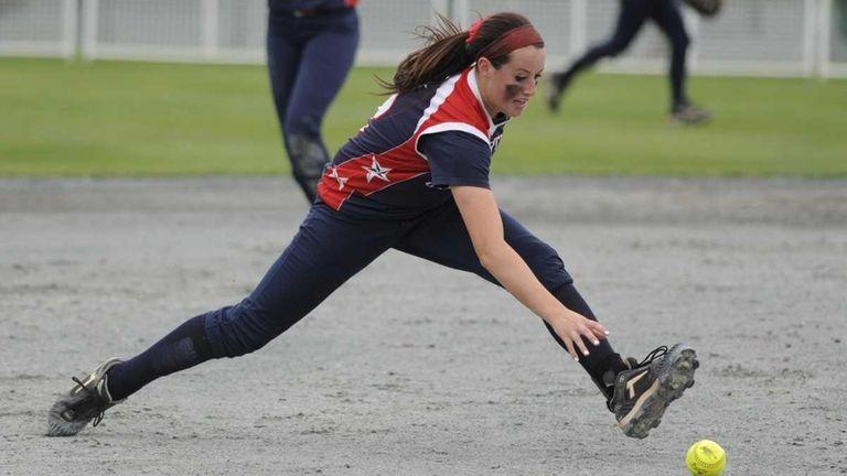 MacArthur shortstop Kristen Brown fields the ball during