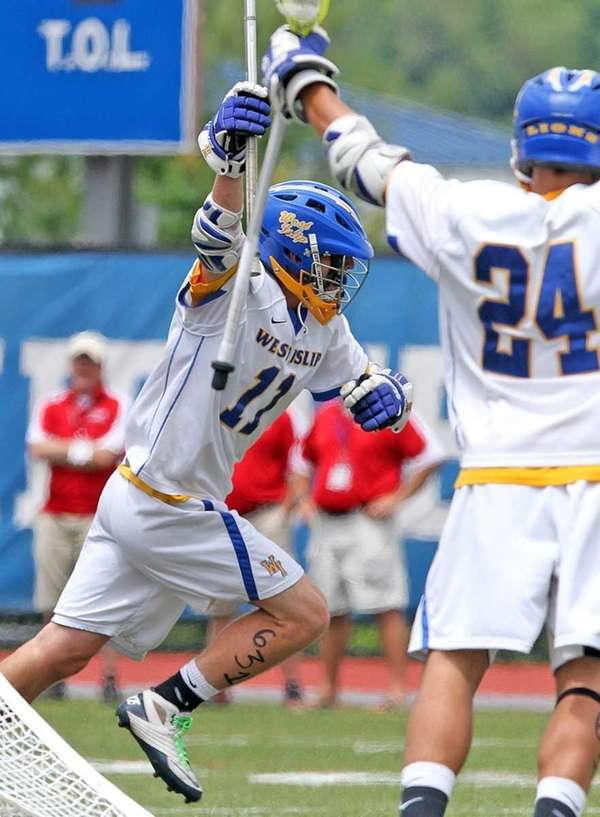 West Islip's Nick Aponte celebrates a goal during