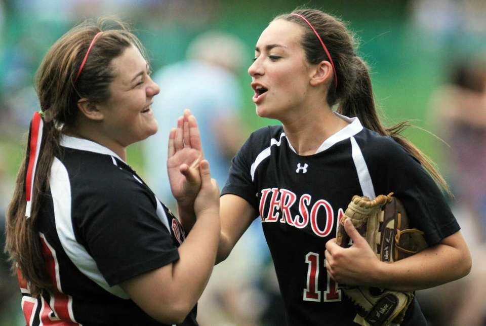 Pierson's Julia Schiavoni, left, and teammate Sariah Cafiero