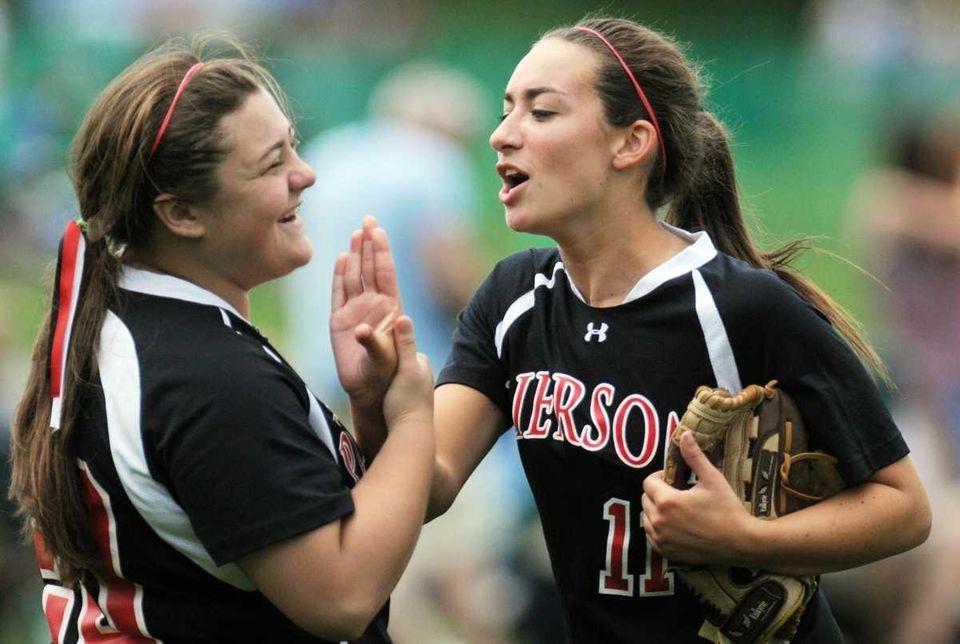 Pierson's Julia Schiavoni, left, and teammate Sariah Cafiero