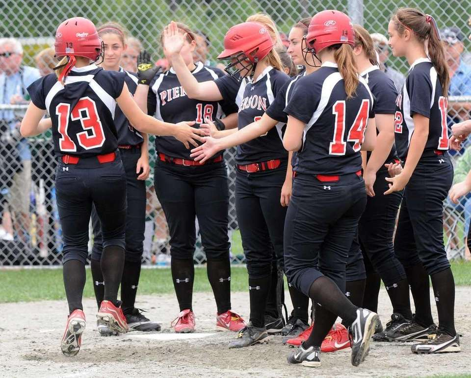 Pierson Kasey Gilbride (13) celebrates her home run