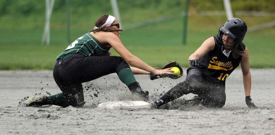 Sayville's Jackie Christenson (10) slides safely into second