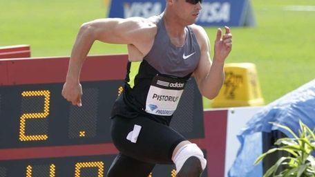 Oscar Pistorius begins the men's 400 meters at