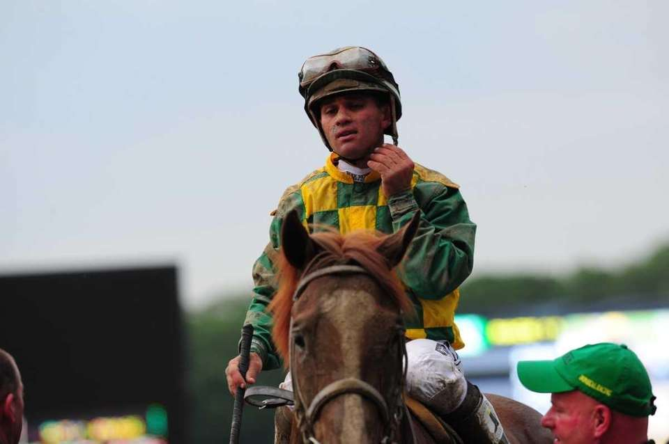 Jockey John Velazquez after winning the 144th Belmont